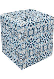 Puff D'Rossi Dado Quadrado Estampado Azulejo Azul D50 - D'Rossi