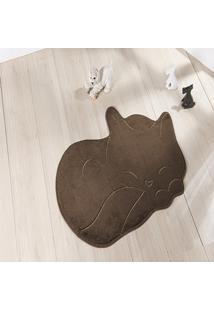 Tapete Formato Feltro Antiderrapante Gato Soneca Tabaco