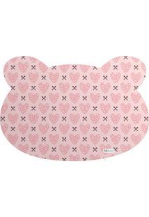 Tapete Pet Mdecore Urso Coração Rosa 54X39Cm