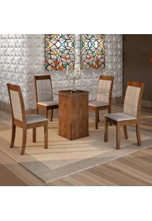 Conjunto De Mesa De Jantar Havana Com 4 Cadeiras Rubi Suede Chocolate E Cinza