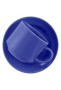 Conjunto De 6 Xícaras Grandes 200Ml Com Pires Donna Azul Azul