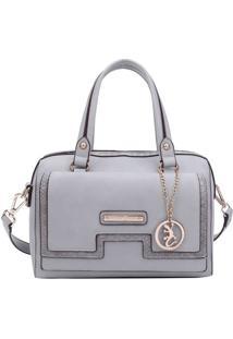 Bolsa Ba㺠Com Bag Charm - Cinza Claro & Dourada - 18Fellipe Krein