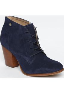 Ankle Boot Em Couro Com Amarraã§Ã£O- Azul Marinho & Bege