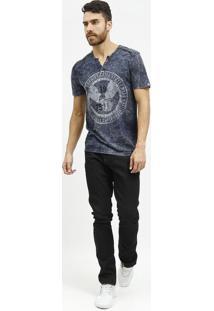 Camiseta Estonada Com Botãµes- Azul Escuro & Cinza Claro