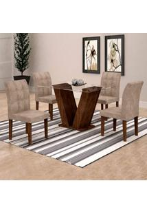 Conjunto De Mesa De Jantar Classic Com 4 Cadeiras Vitória Veludo Chocolate