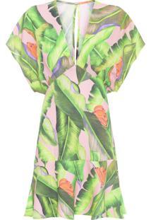 Vestido Curto Folha De Bananeira - Rosa