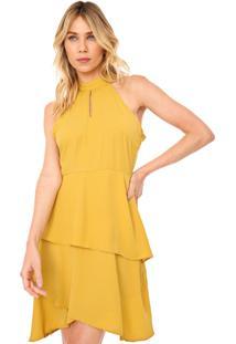 Vestido Queens Paris Curto Babados Amarelo