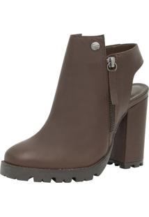 Open Boots Corazzi Couro Salto 10,5 Cm Café