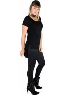 Look Blusa Chocker Tee Preto + Legging Recortes Modisch - Tricae