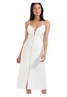 Vestido Midi Detalhe Vivo Off White