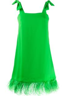 P.A.R.O.S.H. Vestido Decote Quadrado Com Acabamento De Plumas - Verde