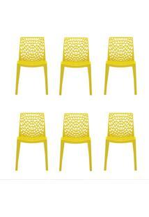 Conjunto De 6 Cadeiras Gruv Amarela