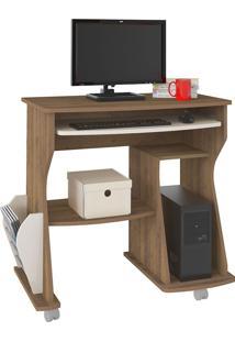 Escrivaninha/Mesa Para Computador 160 Pinho Com Off White E Porta-Revista Lateral - Artely