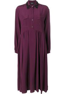 Rochas Embellished Collar Shirt Dress - Vermelho