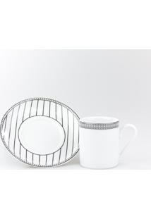 Conjunto De Xícaras Para Café C/ Pires Porcelana Schmidt 06 Peças - Dec. Aline