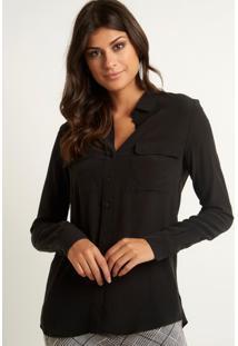 Camisa Le Lis Blanc Lucia 5 Black Seda Preto Feminina (Black, 36)