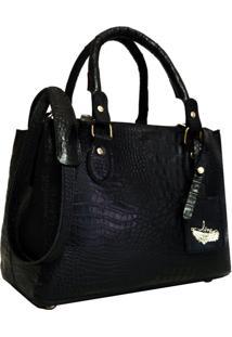 Bolsa Line Store Leather Clássica Couro Preto Croco. - Kanui
