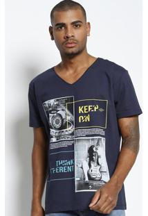 "Camiseta ""Keep On...""- Azul Marinho & Verde Claro- Ttriton"