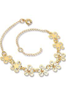 Pulseira Le Diamond Luzon Flores Zircônias Dourada