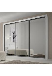 Guarda Roupa Casal Com Espelho 3 Portas De Correr Ravena Top Rufato Branco
