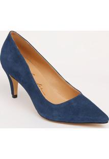 Scarpin Liso Em Couro Com Recorte- Azul Escuro- Saltluiza Barcelos