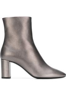 Saint Laurent Ankle Boot 'Loulou 95' De Couro - Metálico