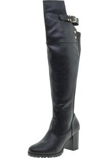 Bota Feminina Over Knee Mooncity - 73027 Preto 34