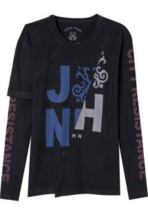 Camiseta John John Resistance Masculina (Preto, P)