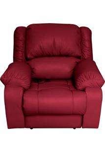Poltrona Do Papai Reclinável Elétrica Com Massagem E Usb Magnum Couro (Pu) Vermelho - Gran Belo