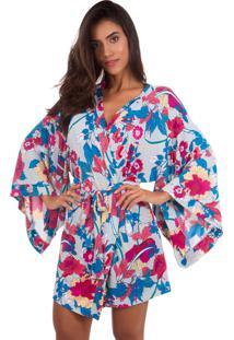 Robe Inspirate Curto Floral Rosa/Azul
