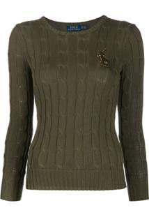 Polo Ralph Lauren Suéter Com Logo E Contas - Verde