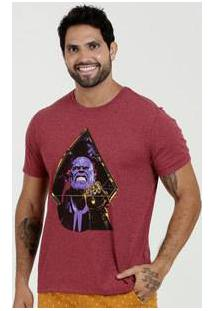 Camiseta Masculina Estampa Thanos Manga Curta Marvel