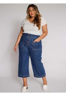 Calça Almaria Plus Size Izzat Flare Jeans Azul