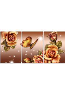 Quadro Decorativo Para Sala Flor Bege Borboleta - Multicolorido - Dafiti
