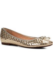 Sapatilha Shoestock Matelassê Laço Feminina - Feminino-Dourado