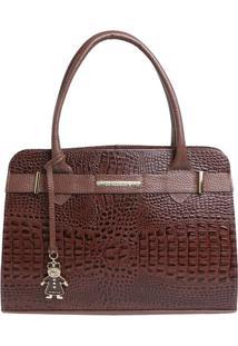 Bolsa Em Couro Croco Com Tira & Bag Charm- Marrom Escurodi Marlys