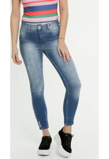 Calça Jeans Cigarrete Puídos Feminina Biotipo