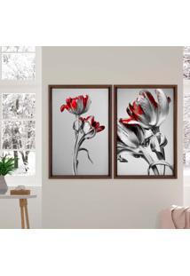 Quadro Love Decor Com Moldura Chanfrada Flores Vermelhas Madeira Escura - Grande