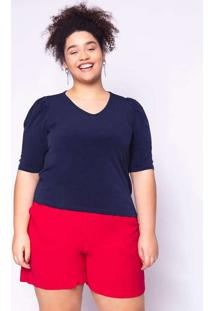 Blusa Almaria Plus Size Ela Linda Básica Azul