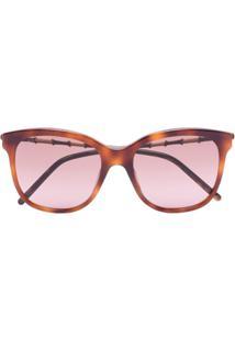 Gucci Eyewear Óculos De Sol Quadrado Com Efeito Tartaruga - Marrom