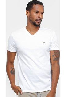 Camiseta Lacoste Gola V Regular Fit Masculina - Masculino-Branco
