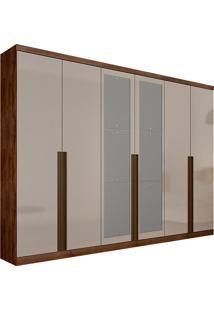 Guarda-Roupa Casal Com Espelho 6 Portas E 6 Gavetas Quebec- Novo Horizonte - Canela / Off White
