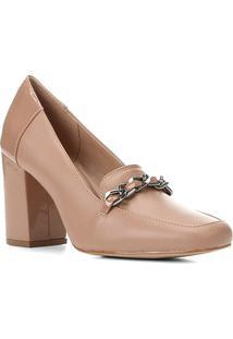 Mocassim Couro Shoestock Corrente Salto Alto Feminino - Feminino-Nude