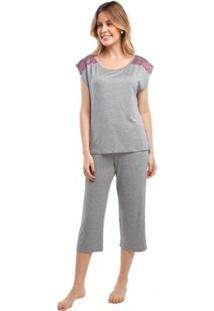Pijama Capri Com Renda Feminino - Feminino-Cinza