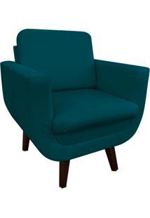 Poltrona Decorativa Athenas Suede Azul Pavão D'Rossi