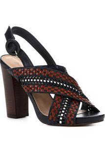 Sandália Shoestock Salto Bloco Handmade Feminina - Feminino-Marinho