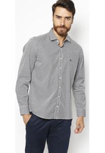 Camisa Slim Fit Xadrez - Preta & Branca - Fio 50Vip Reserva