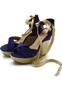 Sandália Espadrille Trançada Em Cetim Azul Escuro E Salto Em Juta