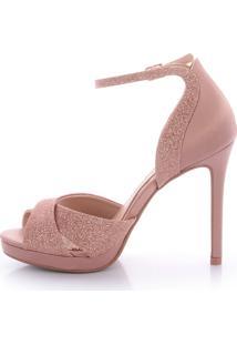 Sandália Salto Alto L'Atelier Glitter Rosa - Tricae