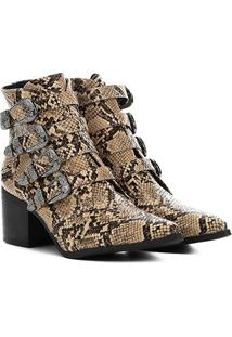 Bota Country Zatz Animal Print Cobra Feminina - Feminino-Bege